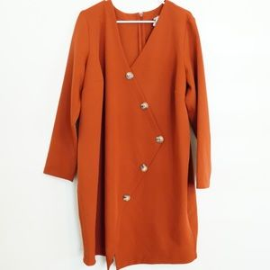 ASOS RUST ORANGE LONG SLEEVE DRESS